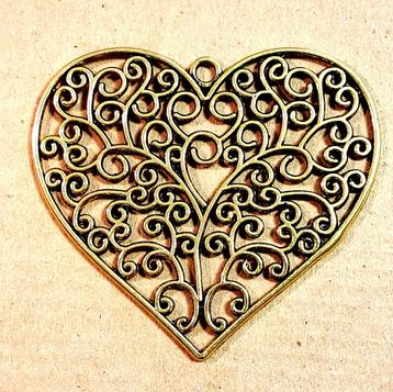 AB-0433 - Antique Gold Pewter Flat Filigree Heart Pendant, 64mm | Pkg 1