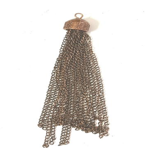 AB-0242 - Antique Copper Tassle Pendant, 4"