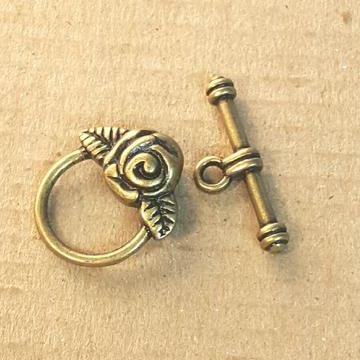 AB-0204 - Antique Brass Pewter Round Toggle Clasp With Rose Accent, 15mm | Pkg 5