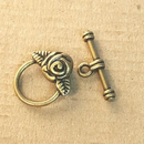 AB-0204 - Antique Brass Pewter Round Toggle With Rose Accent,15mm | Pkg 5