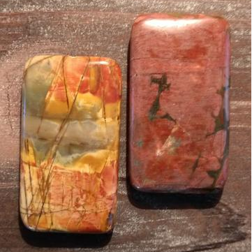 GM-0443 - New Picasso Jasper Rectangle Gemstone Pendant,25x45mm | Pkg 1