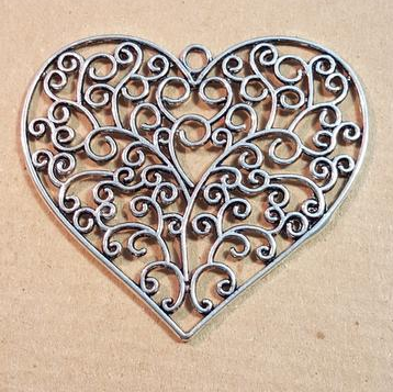 AB-0434 - Antique Silver Pewter Flat Filigree Heart Pendant, 64mm | Pkg 1