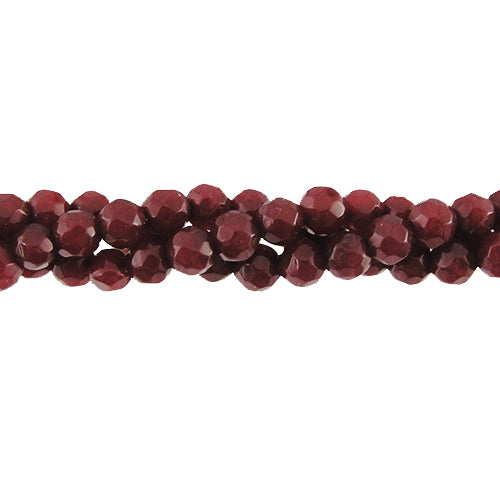 "GM-0083 - 4mm Faceted Jade Gemstone Bead Strand,Cranberry | 16"" Str"