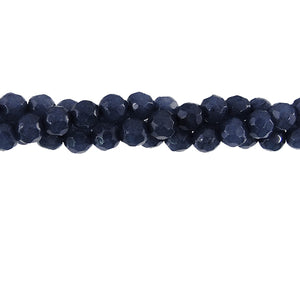 "GEM-04116 - 4mm Faceted Jade Gemstone Bead Strand,Indigo Blue | 16"" Str"