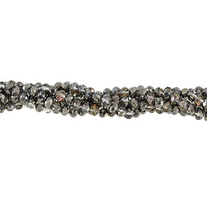CC-067 - Chinese Crystal 4x6mm Rondelles,Antique Gunmetal | 1 Strand