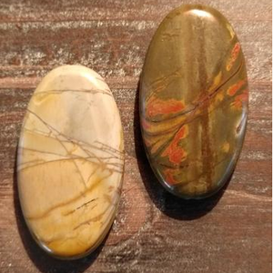GM-0442 - New Picasso Jasper Oval Gemstone Pendant, 25x45mm | Pkg 1
