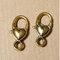 AB-0272 - Antique Gold Heart Lobster Clasp,13x27mm | Pkg 2