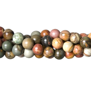 "GM-0126 - 6mm New Picasso Jasper Round Gemstone Beads | 16"" Strand"