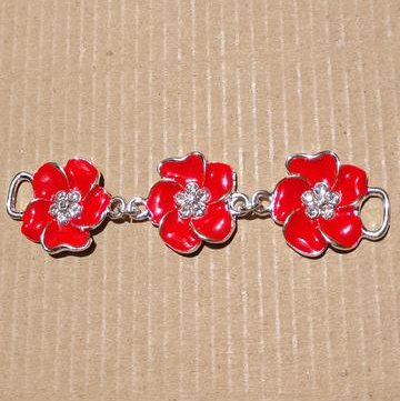 AB-2070 - Red Enamel Flower Connector With Crystals | Pkg 1