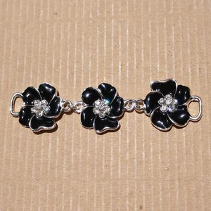 AB-2071 - Black Enamel Flower Jewelry Connector With Crystals | Pkg 1
