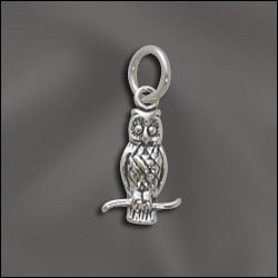 SS/CR3/OW  -  Sterling Silver Owl Charm, 9x16mm | Pkg 1