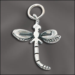 SS/CR3/DF - Sterling Silver 20mm Dragonfly Charm | Pkg 1