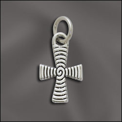 SS/CR3/CR14 - Sterling Silver Cross with Swirls Charm, 11x18mm | Pkg 1