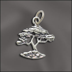 SS/CR3/CY - Sterling Silver Cypress Tree Charm, 20mm | Pkg 1
