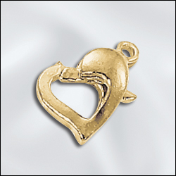 LC/707C/G - Gold Plated Heart Lobster Clasp | Pkg 2