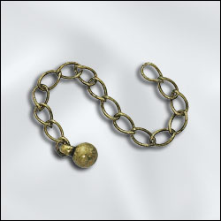 CE/3AB - Antique Brass Chain Extender With 5mm Bead,3"