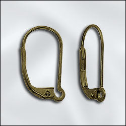 JW232/I/AB - Antique Brass Lever Backs, 17mm | 2 Pairs