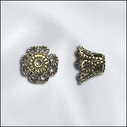 JW248/7AB - Antique Brass 7mm Filigree Bead Caps | Pkg 20