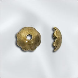 JW288/6AB - Antique Brass 6mm Smooth Bead Caps | Pkg 20