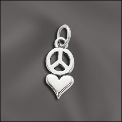 PW/CR3/PCLV/S - Silver Pewter Love/Peace Charm, 9x16mm | Pkg 1