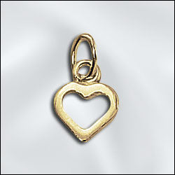 CL-PW/CR5/HT12/G  - Gold Plated Heart Charm, 7mm | Pkg 2
