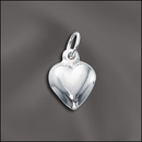 PW/CR5/HT2/S - Silver Plated Puffed Heart Charm, 8x9mm | Pkg 2