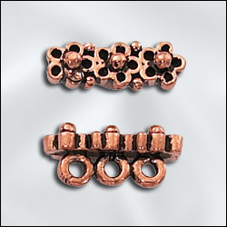GC/3781/3  - Genuine Copper 3 Holed Flower Spacer Bar | Pkg 4