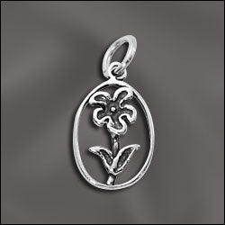 SS/CR3/FW - Sterling Silver Open Flower Charm/Pendant, 11x18mm | Pkg 1