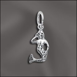 SS/CR3/MM - Sterling Silver Charm, Mermaid, 8x15mm | Pkg 1