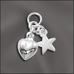 SS/CR5/HST - Sterling Silver Heart and Star Charms, 9x10mm | Pkg 1
