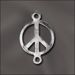 CL-JW/CR2/PC2/S - Silver Plated Peace Sign Connector, 10x16mm | Pkg 5