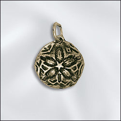 JW/CR1/SD/AB - Antique Brass Charm, Sand Dollar, 16x18mm | Pkg 1