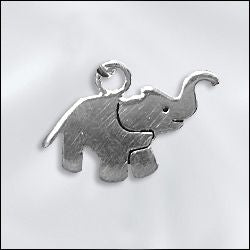 SS/CR5/ELE - Sterling Silver Elephant Charm, 9x15mm | Pkg 1