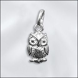 SS/CR5/OWL - Sterling Silver Owl Charm, 8x15mm | Pkg 1