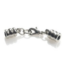 GL/C6065/IR - Silver Plated Leather End Caps With Clasp, 3mm | Pkg 1