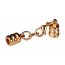 GL/C6065G - Gold Plated Leather End Cords With Clasp, 3mm | Pkg 1