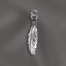 SS/CR5/FE1 - Sterling Silver Charm, Feather, 18mm | Pkg 1
