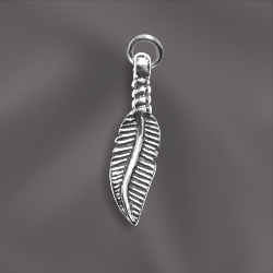 SS/CR5/FE2 - Sterling Silver Charm, Feather, 5x20mm | Pkg 1