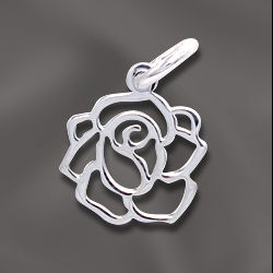SS/CR5/FRS - Sterling Silver 10mm Filigree Rose Charm | Pkg 1