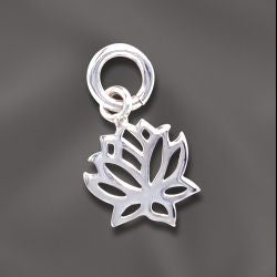 SS/CR5/LF - Sterling Silver 9mm Lotus Flower Charm | Pkg 1