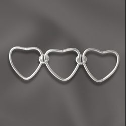 SS/CHS/HT - Sterling Silver Triple Heart Connector, 13x7mm | Pkg 1