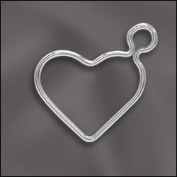 SS/CR7/WH1 - Sterling Silver Wire Heart Charm, 15.5mm | Pkg 1