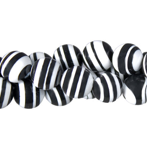 "GM-0029 -8mm Synthetic Black And White Calsilica Gemstone Bead Strand | 16"" Str"