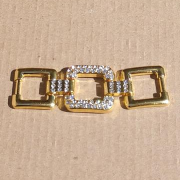 AB-2080 - Gold Tone Tripe Square Connector With Crystals | Pkg 1