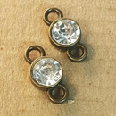 AB-0164 - Antique Brass Jewelry Link With Rhinestone, 8x15mm | Pkg 2