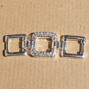 AB-2081 - Silver Toned Triple Square Jewelry Connector With Crystals | Pkg 1