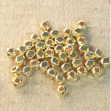 AB-0187 - Gold Metal Beads, Pewter 3mm Multi-Sided Metal Beads | Pkg 100