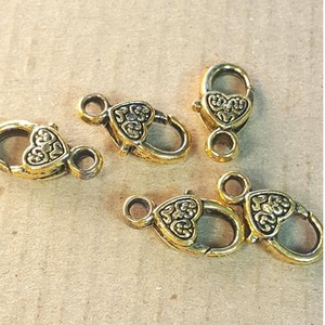AB-0016 - Antique Gold Heart Lobster Clasps,10x18mm | Pkg 5