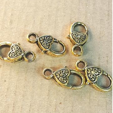 AB-0016 - Antique Gold Heart Lobster Clasps,10x18mm | Pkg 4