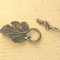 AB-0209 - Pewter Antique Brass Leaf Toggle Clasp, Antique Brass 25x35mm | Pkg 2